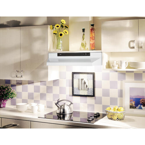 Broan® 30-Inch Convertible Under-Cabinet Range Hood, 220 CFM, White