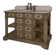 View Product - 46 in. W Single Vanity with Cream Marble Top and Backsplash in Distressed Parchment