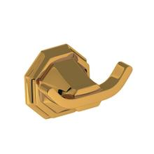 See Details - Deco Wall Mount Double Robe Hook - Unlacquered Brass