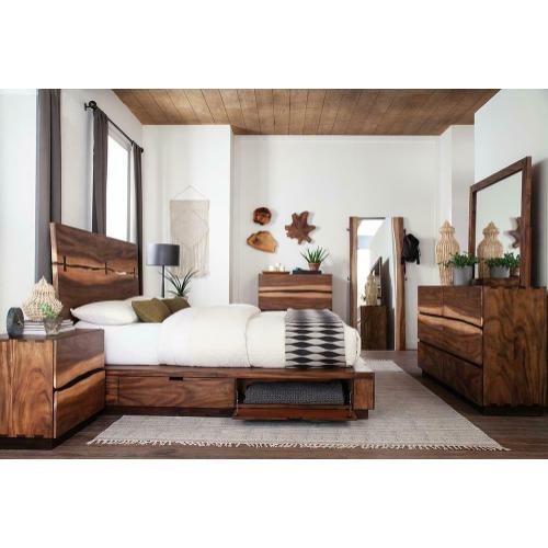 Gallery - Rustic Smoky Walnut Eastern King Storage Bed