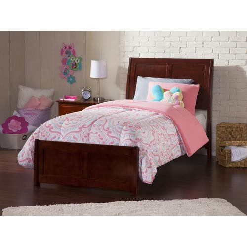 Portland Twin XL Bed with Matching Foot Board in Walnut