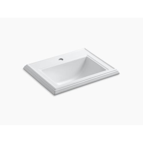 Ice Grey Classic Drop-in Bathroom Sink With Single Faucet Hole