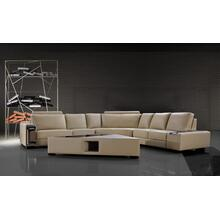 See Details - Divani Casa Tera - Beige Bonded Leather Sectional Sofa with Coffee Table