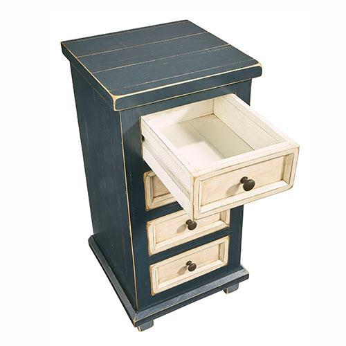 4 Drawer Chairside Table - Navy Blue Finish