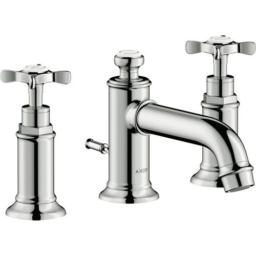 Polished Nickel Widespread Faucet 30 with Cross Handles and Pop-Up Drain, 1.2 GPM