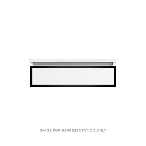 "Profiles 30-1/8"" X 7-1/2"" X 21-3/4"" Modular Vanity In Satin White With Matte Black Finish and Slow-close Plumbing Drawer"