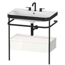 See Details - Furniture Washbasin C-bonded With Metal Console Floorstanding, White High Gloss (decor)