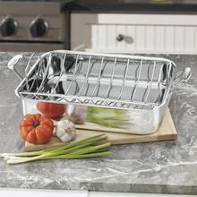 "Chef's Classic Stainless 16"""" Roasting Pan with Rack"