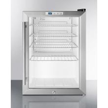 See Details - Commercially Approved Countertop Glass Door Refrigerator Designed for the Display and Refrigeration of Beverages or Sealed Food, With Black Cabinet, Front Lock, and Digital Thermostat; Replaces Scr310l