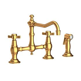 Satin Gold - PVD Kitchen Bridge Faucet with Side Spray