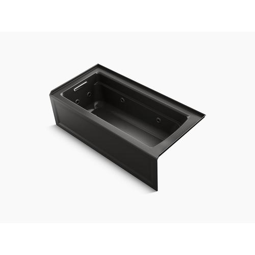 "Black Black 66"" X 32"" Integral Apron Whirlpool With Integral Flange and Left-hand Drain"