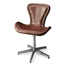 See Details - This edgy Accent Chair is riveting, literally and figuratively. Perched atop a nickel-finished metal base, the shapely seat is upholstered in rich, brown leather and trimmed with gleaming rivets that swoop around to the metallic back and seat base.