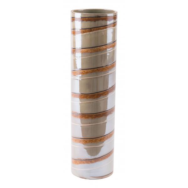 Large Lined Vase Brown