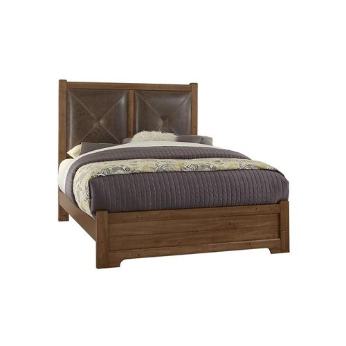 King Leather Bed with Low Profile Footboard (amber finish shown)