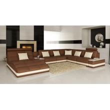See Details - Divani Casa 6143 - Modern Brown + White Bonded Leather U Shaped Sectional Sofa
