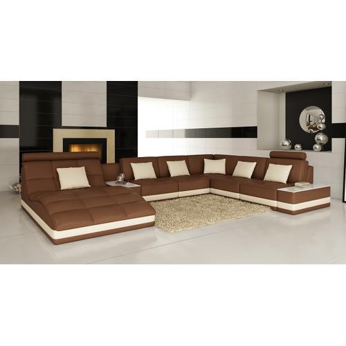 VIG Furniture - Divani Casa 6143 - Modern Brown + White Bonded Leather U Shaped Sectional Sofa