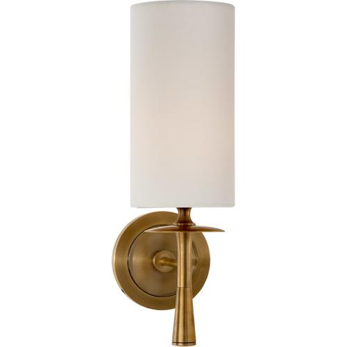 Visual Comfort - AERIN Drunmore 1 Light 5 inch Hand-Rubbed Antique Brass Single Sconce Wall Light in Linen