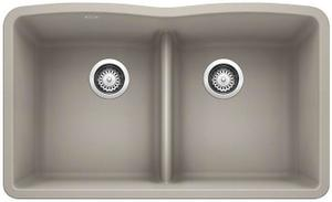 Diamond Equal Double Bowl With Low Divide - Concrete Gray Product Image