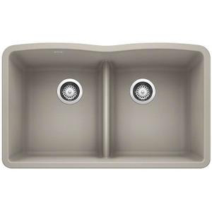Diamond Equal Double Bowl With Low Divide - Concrete Gray