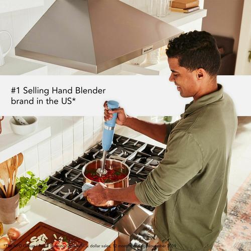 KitchenAid - Cordless Variable Speed Hand Blender with Chopper and Whisk Attachment - Blue Velvet