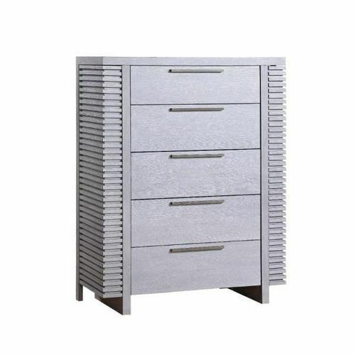 ACME Aromas Chest (Side Hidden Storage) - 28127 - Coastal - Wood (Poplar), Wood Veneer (Oak), MDF, Ply, PB - White Oak