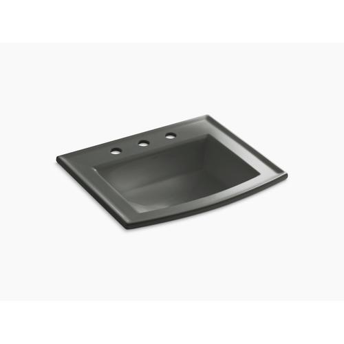 """Thunder Grey Drop-in Bathroom Sink With 8"""" Widespread Faucet Holes"""