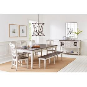 Orchard Park Table & 4 Chairs & Bench Grey