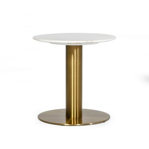 VIG Furniture - Modrest Fairway - Glam White Marble and Brushed Gold End Table