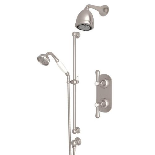 Satin Nickel GEORGIAN ERA THERMOSTATIC SHOWER PACKAGE with Georgian Era Metal Lever With Porcelain Cap