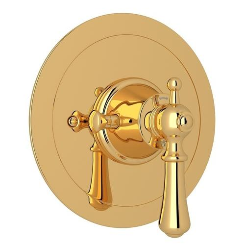 English Gold Perrin & Rowe Georgian Era Round Thermostatic Trim Plate Without Volume Control with Georgian Era Solid Metal Lever