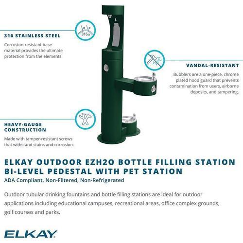 Elkay - Elkay Outdoor EZH2O Bottle Filling Station Bi-Level, Pedestal with Pet Station Non-Filtered Non-Refrigerated Beige