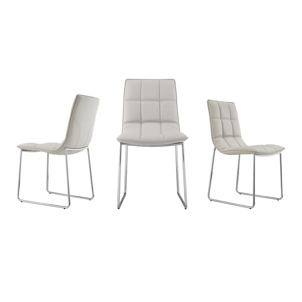 The Leandro Light Gray Eco-leather Dining Chairs