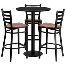 See Details - 30'' Round Black Laminate Table Set with 3 Ladder Back Metal Barstools - Cherry Wood Seat