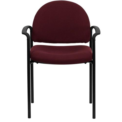 Comfort Burgundy Fabric Stackable Steel Side Reception Chair with Arms