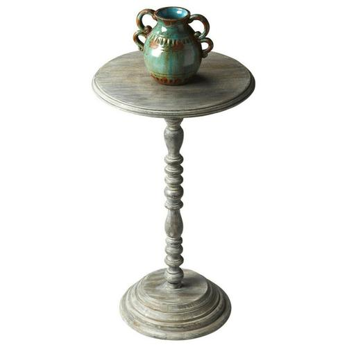 Butler Specialty Company - Designed to snuggle into favorite nooks and crannies, this small table features an elaborately turned pedestal and base, and beautifully beveled edge on the tabletop. The transparent finish celebrates the exotic mango wood's elegant graining.