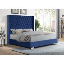 See Details - Alanis Queen Bed, Blue Velvet