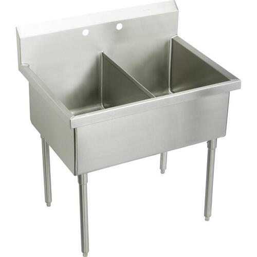 "Elkay Sturdibilt Stainless Steel 51"" x 27-1/2"" x 14"" Floor Mount, Double Compartment Scullery Sink"