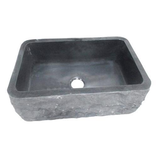 "Birgitta Single Bowl Granite Farmer Sink - Polished Black / 24"""