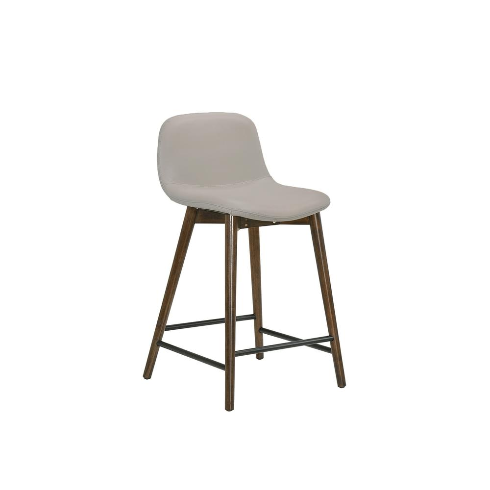 The Stellar Counter Height Bar Stool In Light Gray Leather With Walnut Wood Legs