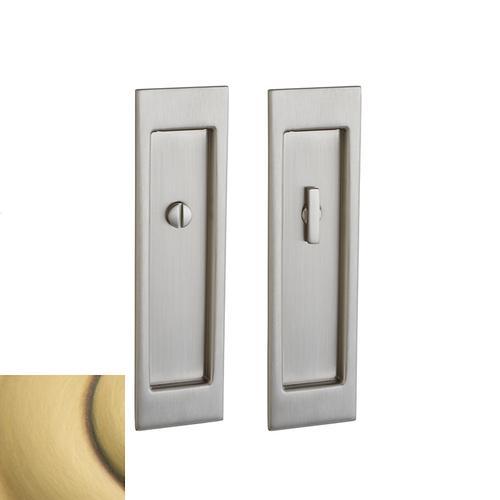 Baldwin - Satin Brass and Brown PD005 Large Santa Monica Pocket Door