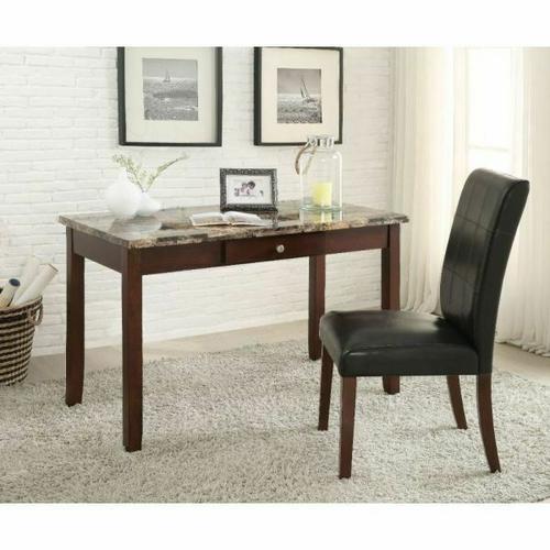 Acme Furniture Inc - ACME Sydney 2Pc Pack Desk & Chair - 92213 - Brown Faux Marble & Dark Walnut