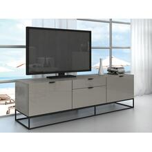 The Vizzione Entertainment Center In High Gloss Taupe Lacquer With Black Base