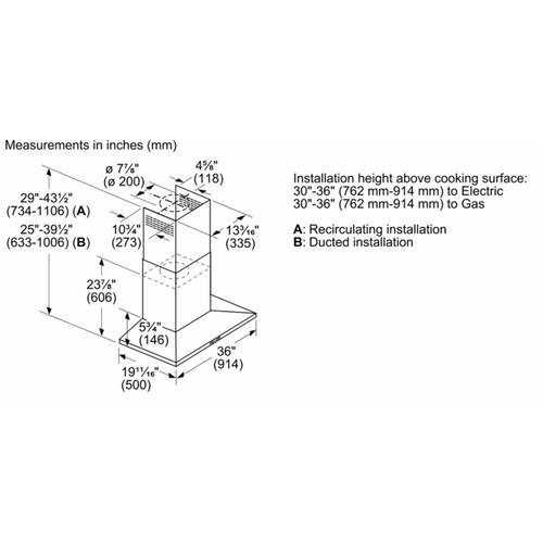 Bosch - 500 Series Wall Hood 36'' Stainless Steel HCP56652UC