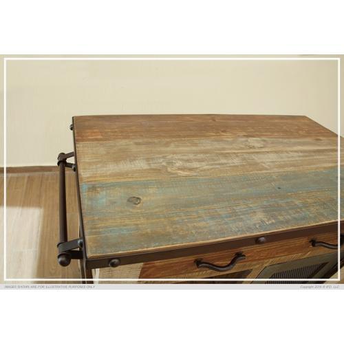 1 Drawer, 1 Mesh Door Kitchen Island - Antique finish