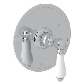 Polished Chrome Italian Bath Pressure Balance Trim Without Diverter with Porcelain Lever