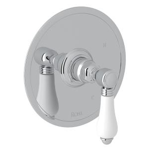 Polished Chrome Italian Bath Pressure Balance Trim Without Diverter with Porcelain Lever Product Image