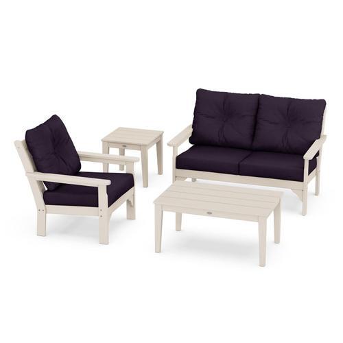 Vineyard 4-Piece Deep Seating Set in Sand / Navy Linen