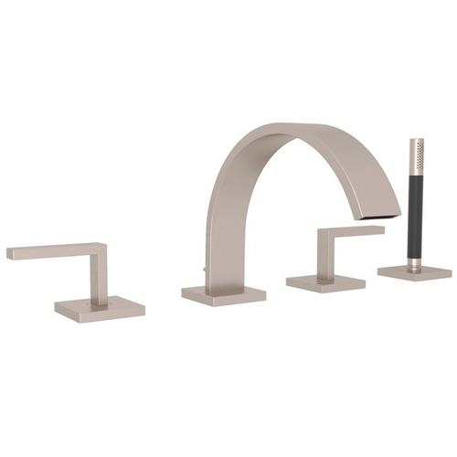 Satin Nickel Wave 4-Hole Deck Mount Tub Filler With Lever Handles And Handshower with Wave Metal Lever
