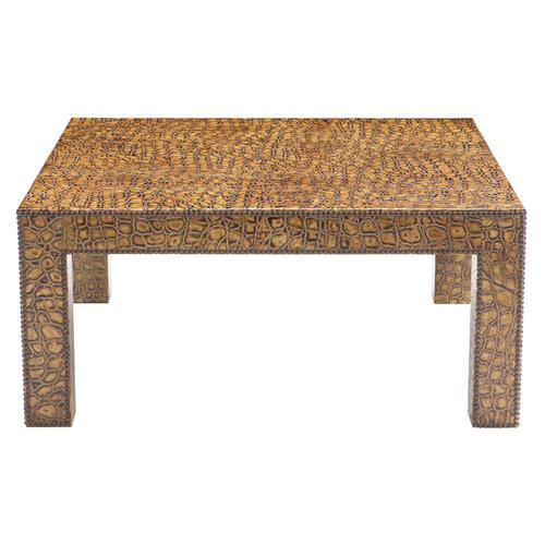 Exeter Square Cocktail Table in #6 Antique Brass
