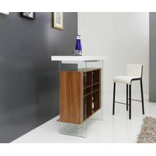 View Product - Modrest Sven Contemporary White & Walnut Floating Bar Table